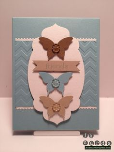 Stampin' Up!, Sweet Essentials, Chevron Embossing Folder, Finishing Touches Edgelits, Apothecary Accents Framelits, Bitty Banners Framelits, Elegant Butterfly Punch, Bitty Buttons