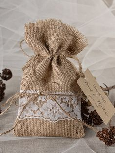 Lace Rustic Favor Bag Rustic Wedding Bag  by 4LOVEPolkaDots, $1.50  I really like this.  Not sure what I would fill it with, but I think they are really cute.