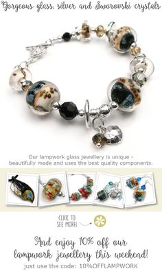 Gorgeous glass, silver and Sworovski crystals