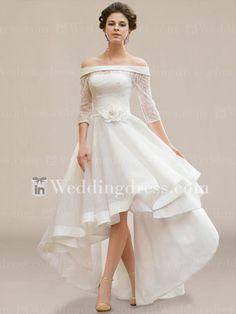 IVORY HI-LO PLUS SIZE WEDDING DRESS A-LINE HALF SLEEVE OFF-SHOULDER CHIFFON/LACE | Clothing, Shoes & Accessories, Wedding & Formal Occasion, Wedding Dresses | eBay!
