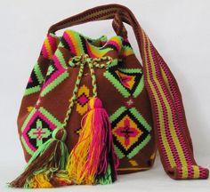 Neon Wayuu mochila shoulder bag sac a main  sac a dos by PavanaFit