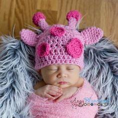 46ef12b60ae Melondipity Girl Pink Giraffe Crochet Baby Hat - Newborn Knit Animal Beanie  - Super Soft and Handmade in Acrylic - One Size - Newborn Infant