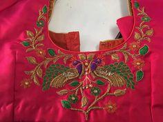 Peacocks,embroidery on blouse/ kameez Simple Blouse Designs, Silk Saree Blouse Designs, Choli Designs, Bridal Blouse Designs, Kurta Designs, Dress Designs, Embroidery Works, Embroidery Designs, Hand Embroidery