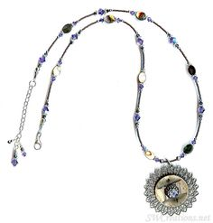 Regal Tanzanite Abalone Shell Vintage Button Necklace