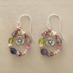 """Dainty silver flowers are wreathed in beads of pink sapphire, garnet, labradorite, peridot, iolite, pink opal, prehnite and copper, suspended on sterling silver wires. Handcrafted exclusively for Sundance. Approx. 1-1/4""""L."""