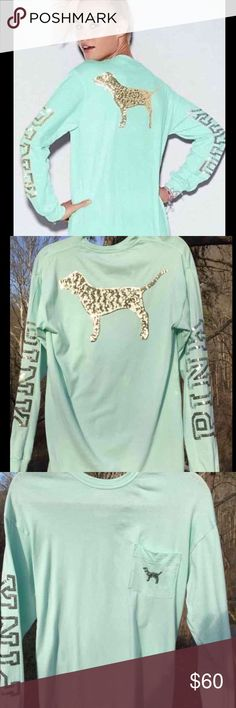 Mint blue green sequined bling PINK logo shirt Mint long sleeve sequined bling tee from PINK Victoria's Secret! Has been worn but still in good condition 🍍🌞 let me know if you have any questions PINK Victoria's Secret Tops