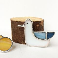 Stained glass brooch Seagull Tiffany teqnique glass brooch