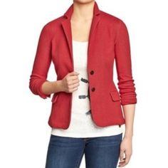 Old navy Cotton red blazer This blazer is very comfortable and very professional! It is a beautiful tethered red color. I loved this blazer so much that I bought it in 2 other colors. Only selling because I am having to downsize my closet. It has two pockets in the front. In excellent condition!! 👠💄💋 Old Navy Jackets & Coats Blazers