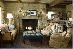 Love the stone fireplace and beams