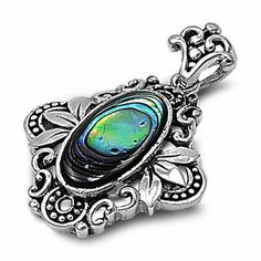Ornate Sterling Silver and Oval Abalone Shell Floral Pendant - Size: 24mm Pendants - Sterling Silver. $51.75