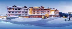 Outside view of the Falkensteiner Hotel Cristallo, Katschberg, winter in Carinthia Carinthia, Star Family, Austria, Winter, Skiing, The Outsiders, Mansions, House Styles, Family Activity Holidays