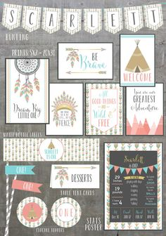 Pow wow Birthday Party Package printables • ONE • first birthday party invitations package. Dream big little one. You are our greatest adventure. Be brave. Welcome signs. And though she be but little she is fierce. Stats poster. Straw flags. Cupcake toppers. Table tent cards. Water bottle labels. by greylein on Etsy