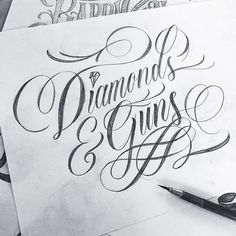 Sketch for a t-shirt design #handlettering #type #shirt #diamonds #transplants #script #sketch
