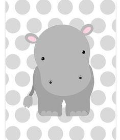 Hipopótamo vivero Decor Hippo lona vivero pared arte