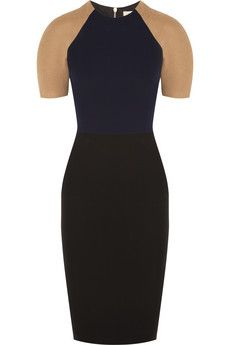 Victoria Beckham Crepe and camel and wool-blend dress | THE OUTNET