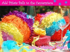 Multi-colored pinata balls - bright and festive centerpiece for Cinco de Mayo