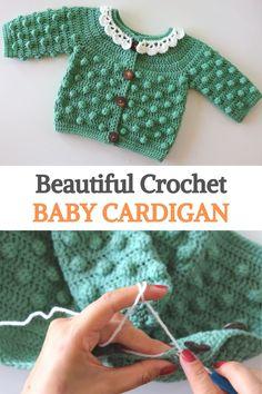 Crochet Baby Cardigan Free Pattern, Crochet Baby Jacket, Crochet Baby Sweaters, Baby Sweater Patterns, Baby Clothes Patterns, Baby Girl Crochet, Crochet Baby Clothes, Newborn Crochet, Baby Knitting