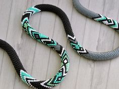 Graphic Necklace -- Bead Crochet Necklace Mint Graphics -- CHUDIBEADS -- via Etsy.com