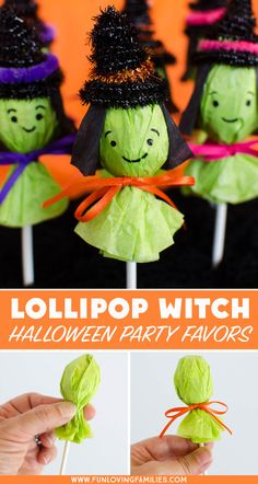 These lollipop witches make the cutest Halloween party favors. Make a bunch to b… These lollipop witches make the cutest Halloween party favors. Make a bunch to bring to the Halloween classroom party, or. Halloween Mignon, Classroom Halloween Party, Fröhliches Halloween, Adornos Halloween, Manualidades Halloween, Halloween Party Snacks, Halloween Crafts For Toddlers, Halloween Party Supplies, Halloween Birthday