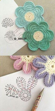 47 ideas for crochet amigurumi flower ganchillo Crochet Coaster Pattern, Crochet Motifs, Crochet Diagram, Crochet Chart, Crochet Doilies, Crochet Stitches, Crochet Puff Flower, Crochet Flower Tutorial, Crochet Flower Patterns