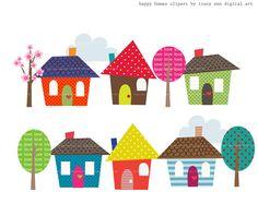 Happy Homes Clip Art by TracyAnnDigitalArt on Etsy, $5.95