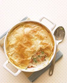 Lighter Chicken Pot Pie!  A handful of tweaks turn this comfort food into a smarter choice: white-meat chicken (not dark), extra veggies, low-fat milk in the filling, and a lighter crust. Brushing the phyllo with just a small amount of oil instead of butter makes it just as tasty.
