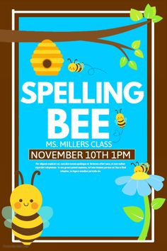 Children's Event Spelling Bee Poster Template.