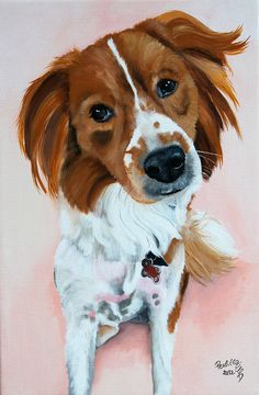 Custom dog portrait 8x12 canvas from your photo  by PerlillaPets