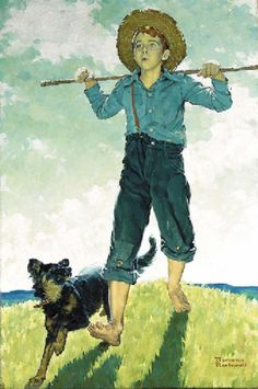 """What we as Americans teach to Our Boys while they are young, will come back to educate us when we are Old Men!"" ~ Ancient Forager (Norman Rockwell ~""Boy And Dog"") Norman Rockwell Prints, Norman Rockwell Paintings, Munier, American Artists, Storyboard, Belle Photo, Vintage Art, Cool Art, Art Gallery"