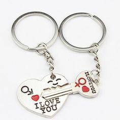 Plata chapado pareja llavero del amante del corazón de la joyería amor llavero clave titular de la cadena anillos para mujeres hombres romántica del regalo de cumpleaños