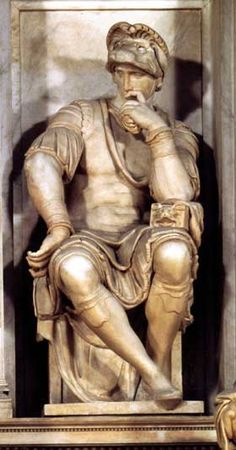 Lorenzo de Medici's likeness at the tomb designed and created by Michelangelo. This is of Lorenzo, Duke of Urbino, and not Lorenzo the Magnificent who was the most important member of the Medici family. Italian Renaissance Art, Renaissance Kunst, High Renaissance, Michelangelo Sculpture, Italian Sculptors, Chef D Oeuvre, Italian Artist, Western Art, Famous Artists