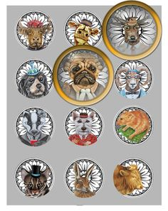 "Printable 12 x 2"" Animal faces with hats, circles, cabochon gift tags/ labels/ pendants/ magnets collage sheet/ cupcake toppers"