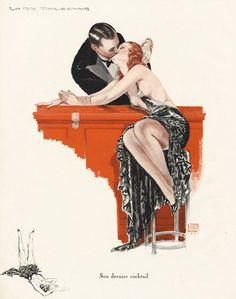 Georges Léonnec – La Vie Parisienne, Note: How I feel when I drink martinis Retro Mode, Art Deco Era, Pulp Art, Vintage Magazines, Retro Art, Art Deco Design, Up Girl, Belle Epoque, Erotic Art