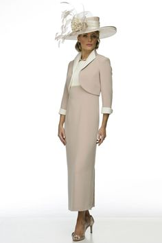 Sand washed silk empire dress with multi row pearl detail under bust. Choice of jacket styles or coats to match. Twenty colours. Made to measure.