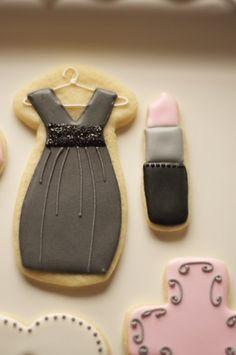 www.SoonerSugar.com, dress cookies, lipstick cookies, cross cookies, heart cookies, pink & grey cookies, sooner sugar sugar cookies