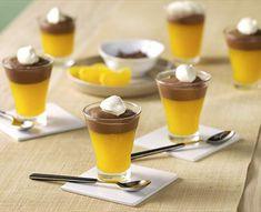 Vasitos de mandarina y chocolate con thermomix® Gourmet Recipes, Cake Recipes, Tapas, Panna Cotta, Food And Drink, Menu, Pudding, Candy, Cooking