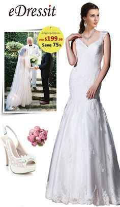 eDressit Cap Sleeves Lace Bridal Gown