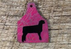 Pink crackle ear tag pendant with a black lamb silhouette. Includes a rhinestone pinch bail, not pictured. Repin to be entered to win one of four $50 gift certificates during our Five Year Anniversary Celebration in July 2014.