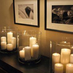Pillar candles in big vases