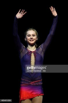 TALLINN, ESTONIA - MARCH 06: Serafima Sakhanovich of Russia waves to the crowd after coming second in the Junior Women's Competition on Day 3 of the ISU World Junior Figure Skating Championships at Tondiraba Ice Arena on March 6, 2015 in Tallinn, Estonia. (Photo by Jordan Mansfield - ISU/ISU via Getty Images)