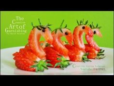 Art in Strawberry Swans -- Fruit Carving Tutorial - YouTube
