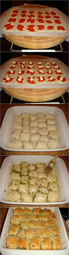 Stuffed Pizza Rolls, this would be a quick easy app for a potluck