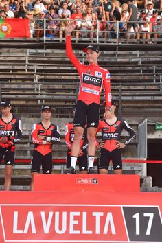 72nd Tour of Spain 2017 / Stage 1 Podium / Team BMC Racing Team Rohan DENNIS Red Leader Jersey / Celebration / Nimes Nimes / Team Time Trial / TTT /...