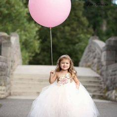 Blush & Champagne Tutu Dress- Flower Girl Dress- Princess Dress- Blush Dress- One Shoulder Dress Blush Tulle Skirt, Blush Flower Girl Dresses, Princess Flower Girl Dresses, Blush Flowers, Cream Flowers, Blush Dresses, Baby Girl Dresses, Bridal Dresses, Belle Tutu
