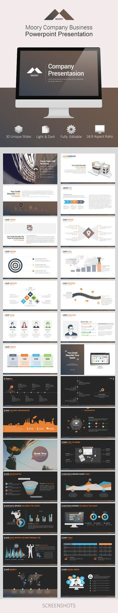 Buy Moory Company Powerpoint Presentation by Jhon_D_Atom on GraphicRiver. This modern powerpoint is perfect for your corporate and business presentations. All elements are easily editable and. Business Powerpoint Presentation, Presentation Layout, Presentation Slides, Company Presentation, Professional Presentation, Powerpoint Examples, Creative Powerpoint, Web Design, Slide Design