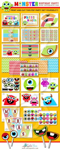 INSTANT DOWNLOAD Birthday Monster Bash Printable by OwliePowlie