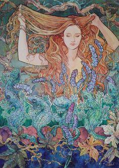 The Art Nouveau Style Art Nouveau Illustration, Goddess Art, Mermaid Art, Mermaid Paintings, Vintage Mermaid, Art Moderne, Pretty Art, Love Art, Female Art
