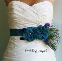 Wedding Sash Belt MALLORY - Two Teal Flowers