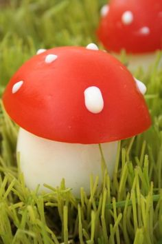 mushroom = hard boiled egg+ tomato+ mayonnaise (id use ranch) cool kids' snack .  very cute!