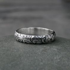 Sterling Silver Etched Ring Band Embossed Stacking by KiraFerrer on Etsy.